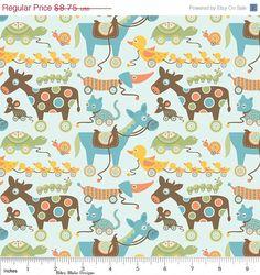 Cotton Fabric with Farm Animals by Riley Blake, Mod Tod, Blue, 1 Yard