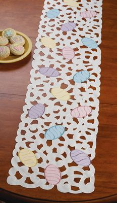Colorful Spring Easter Eggs Table Runner
