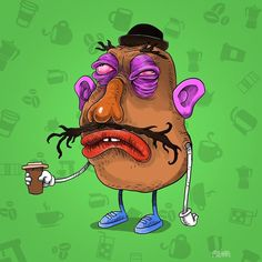 Cartoon characters before coffee par Sam Milham : Mr. Patate