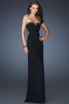 Black Floor-Length Sweetheart Chiffon Sheath Evening Dress