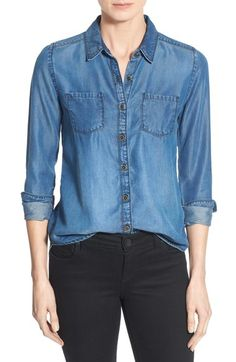 Caslon® Long Sleeve Denim Shirt (Regular & Petite) available at #Nordstrom