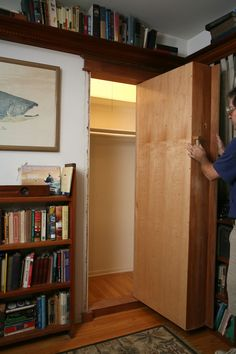 Step by step DIY instructions on how to make a hidden bookcase/door.