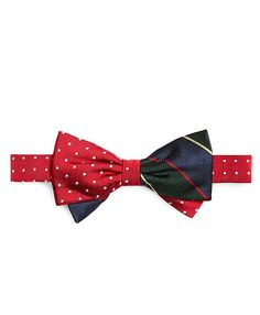 Argyle Sutherland And Dots Pre-Tied Bow Tie - Brooks Brothers Boys Ties, Well Dressed Men, Man Style, Brooks Brothers, Suspenders, Red Green, Men's Fashion, Dots, Buttons