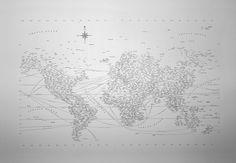 Typographic World Map + frame