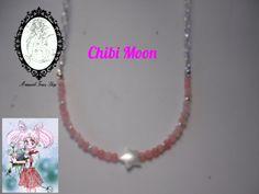 Collar de ágatas rosas, con una estrella de nácar, inspirado en Sailor Chibi Moon