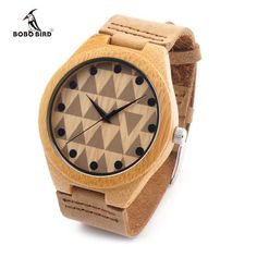 Bamboo Wooden Wristwatch With Genuine Cowhide Leather Band Lovers Luxury Wood Watches For Men and Women