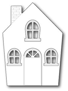 Poppy Stamp Dies - Memory Box - Cute Cottage now available at The Rubber Buggy House Silhouette, Free Collage, House Template, Memory Box Dies, Cute Cottage, Putz Houses, Paper Houses, Diy Dollhouse, Cottage Homes