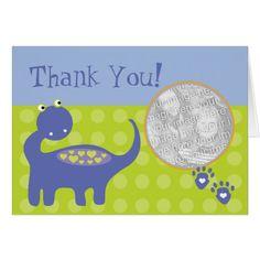 Purple Dinosaur Birthday with Dots Thank You Card