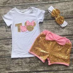 Baby Girl Boutique TWO YEAR BIRTHDAY OUTFIT WITH MATCHING shorts, top & Headband!