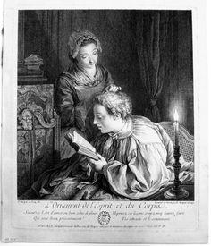 """Louis Surugue after Jean Francois de Troy: L'Ornement de l'Esprit et du Corpse"""""""