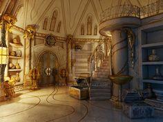 Treasury Past by max-bog on DeviantArt Fantasy Rooms, Fantasy City, Fantasy Castle, Fantasy Places, Fantasy World, Fantasy Landscape, Landscape Art, Narnia, Casa Anime