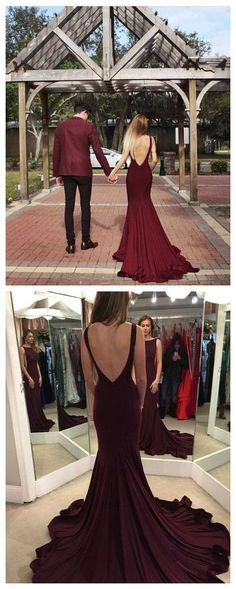 Charming Prom Dress, Mermaid Evening Dress, Sexy Burgundy