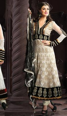 G3 Fashions Off Beige white Jacquard Net Wedding Wear Designer Salwar Suit  Product Code : G3-LSA104928 Price : INR RS 7470