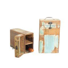Wijnbox voor 2 flessen. Zeer goede kwaliteit. 22x11,5x36 cm (LxDxH)  Omdat het sloophout is kunnen er oneffenheden in het productzitten. Ook de kleuren kunnen verschillen, maar dit maakt ieder productuniek.