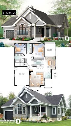 Ranch Bungalow house plan, with galley kitchen, open floor plan concept, garage, many foundation options Style Architectural Sims House Plans, Garage House Plans, House Plans One Story, Craftsman House Plans, Modern House Plans, Small House Plans, Craftsman Ranch, Floor Plans For Houses, House With Garage