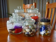 Glass jar storage for sewing things. Find exactly what you need.