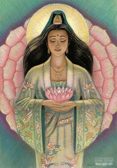 Bodhisattva Guanyin is the goddess of mercy and is seen as a major mother figure in Chinese mythology. She is similar to Hestia from Greek mythology in that she is kind and is generally a benevolent person. Here she is depicted with a lotus flower, a common motif of spiritually among Buddhism.