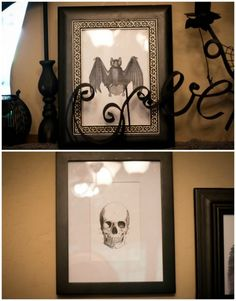Great printables by #Thegraphicsfairy My Halloween Mantle and other creepy decor