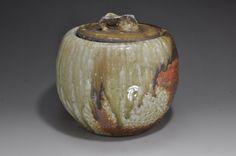 Shigaraki, anagama, dieci giorni anagama legno sparando, con frassino naturale depositi acqua vaso. Mizu-33