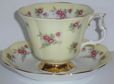 """Royal Albert Bone China Cup and Saucer Set. """"Symphony Series"""" Yellow with small dark pink roses. Auctiva Free Image Hosting.   eBay!"""
