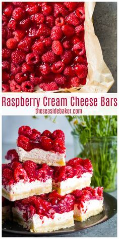 Raspberry Cream Cheese Bars - the perfect spring and summer sweet treat! Layers of buttery shortbread crust, a light and creamy cheesecake center, and oh-so-sweet glazed raspberries make for one delectable layered fruit dessert. And while they might look Raspberry Desserts, Köstliche Desserts, Healthy Dessert Recipes, Delicious Recipes, Desserts With Raspberries, Raspberry Recipes Healthy, Raspberry Cheesecake Bars, Light Dessert Recipes, Fruit Cheesecake