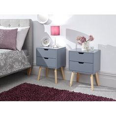Kiana 2 Drawer Bedside Table Norden Home Colour: Dark Grey 3 Drawer Bedside Table, Bedside Cabinet, Bedside Tables, Wood Sleigh Bed, Bedroom Furniture, Bedroom Decor, Bedroom Ideas, Bedroom Night, Bedroom Inspo