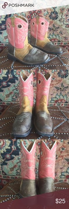 """Cowgirl Boots! Made in Mexico! 9.25"""" sole heel to toe. Tag reads USA 22. Best fit for girls size 1. In good used condition with no issues. Broken in! 1"""" heel! costume baldor Shoes Boots"""