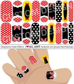Disney Minnie Mouse inspired Jamberry NAS Nail Wrap Design. Why bother with nail art designs and polish when Jamberry nail wraps are so much easier? Get the pretty nails you've always wanted for a fraction of the cost of a salon visit. Visit my website to view a gallery of all my designs http://www.nailwrapdesigns.com/custom-jamberry-nail-wrap-designs/. #iheartnailwraps #nailart #naildesigns #jamberry #jamicure #nails #disney #minniemouse
