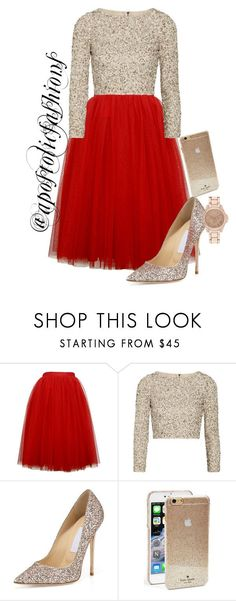 HOLIDAY PARTY featuring Alice + Olivia, Jimmy Choo, Kate Spade, River Island, modestlykay and modestlywhit Christmas Party Outfits, Holiday Party Outfit, Christmas Fashion, Classy Party Outfit, Holiday Parties, Mode Outfits, Night Outfits, Fashion Outfits, Womens Fashion