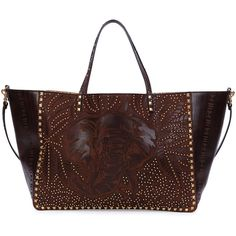 Valentino Large Primitive Animal Elephant Studded Tote Bag (7.415 BRL) ❤ liked on Polyvore featuring bags, handbags, tote bags, brown, elephant tote, valentino handbags, tote purses, valentino tote bag and valentino tote