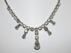 Vintage Signed JOSEPH WIESNER NY Clear Rhinestone Necklace