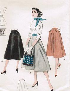 Vintage 1954 Butterick 7149 Sewing Pattern Misses' Skirt