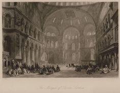 The interior of Hagia Sophia in Istanbu l - WALSH, Robert/ALLOM, Thomas