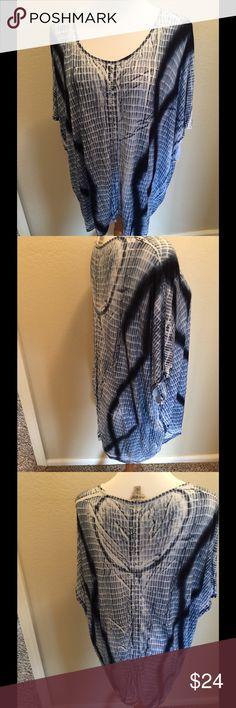Lucky shirt blouse L Blue tie dye pattern box sleeves  Material tag removed but like sweater light weight  Size L Lucky Brand Tops Blouses
