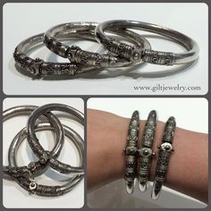 These c1950 silver bangles give any outfit an elegant edge. They also have a great sound when they move against each other. $65 each. Call to purchase. #giltjewelry #vintage #bangles #stackers #silver #vintagejewelry #midcentury #bracelet