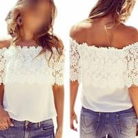 Ship From USA Off Shoulder Casual Tops Blouse 2016 Fashion Summer Womens shirts Lace Crochet Chiffon Shirt Women Clothes 01C0095