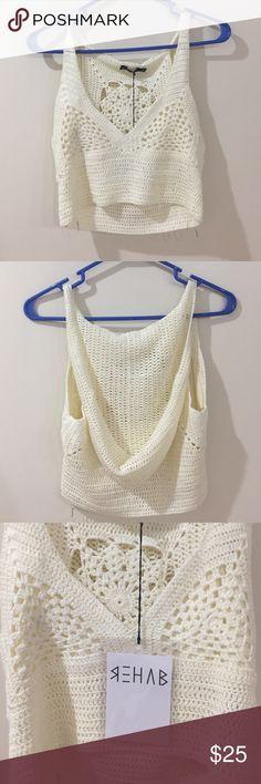 Crochet crop top NWT Beautiful crop top. With hoodie. Crochet. Nasty Gal Tops Crop Tops