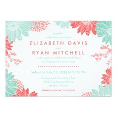 Mint & Coral Modern wedding collection not overly feminine includes wedding invitations, inserts, thank you cards, postage, stickers, and more.