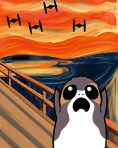 Porg in Edvard Munch's The Scream painting