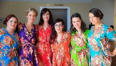 4 Custom bridesmaids robes and getting ready by SunsetToSunrise