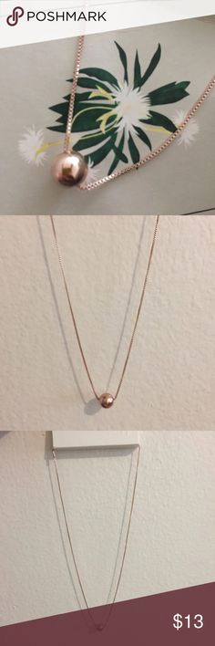 Rose Gold Necklace New with tag. Rose Gold Color Necklace with a ball pendant. Very simple yet beautiful touch to blend with any outfit.  Any questions feel free. Bundle to save. *Check out my other items. H&M Jewelry Necklaces