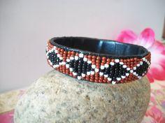 Vintage Brown Beaded Bangle Bracelet Bohemian by ALEXLITTLETHINGS