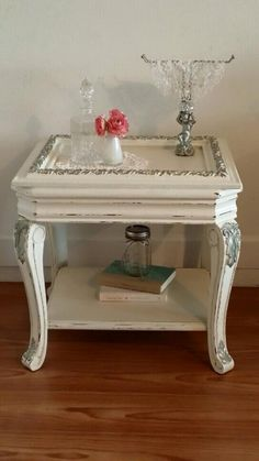 Beautiful Unique End Table Or Night Stand. This Solid Piece Is Painted  White With Silver
