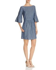 Burberry Michelle Bell-Sleeve Chambray Dress   Bloomingdale's
