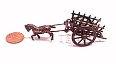 Early 1900s Metal Horse Pulling Cart Penny Toy