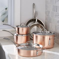 Calphalon Tri-Ply Copper 10-Piece Cookware Set   Crate and Barrel  For those who cook for real.