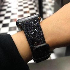 Apple Watch Series 5 4 3 2 Band, Luxury Apple Watch Sparkle Glitter Bling Leather Band - US Fast Shipping Sparkles Glitter, Black Glitter, Black Silver, Cool Watches, Watches For Men, Unusual Watches, Popular Watches, Cute Apple Watch Bands, Apple Watch Bands 42mm