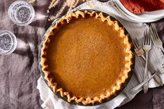 Pumpkin Sugar Pie With Cookie Crust from Erin Jeanne McDowell Recipe on Food52, a recipe on Food52 Pumpkin Custard, Pumpkin Pie Spice, Cookie Crust, Cookie Dough, Pumpkin Recipes, Pie Recipes, Sweet Recipes, Baking Recipes, Baking Science