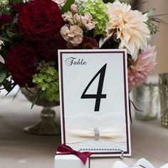 Burgundy and Blush Table Number - Romantic Wedding Table Number - Vintage Lace Table Number - Couture Table Card (CURVED BUCKLE TABLE#)