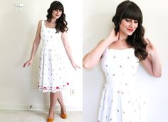 Vintage Sundress / 50s 60s Dress / White Floral 50s by Coldfish, $80.00